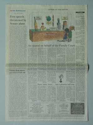 """Newspaper clipping featuring cartoon, """"Cricket Memorabilia"""" by Peter Nicholson; Documents and books; Artwork; M9641.2"""