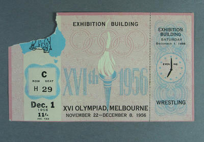 Admission Ticket - Wrestling 1st December 1956  Melbourne Olympic Games; Documents and books; 1998.3442.5