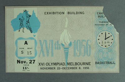Admission Ticket - Basketball 27 November 1956  Melbourne Olympic Games; Documents and books; 1998.3442.6