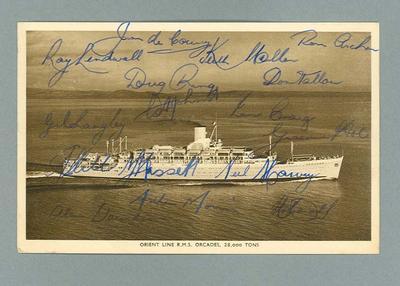 Postcard, signed by Australian cricket team - 1953