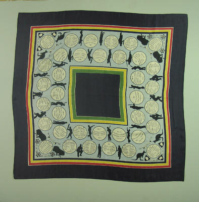 Silk Scarf with location & results matches between England v Australia 1876 - 1938