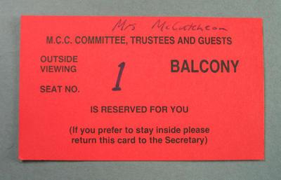 Melbourne Cricket Club balcony seat ticket, undated