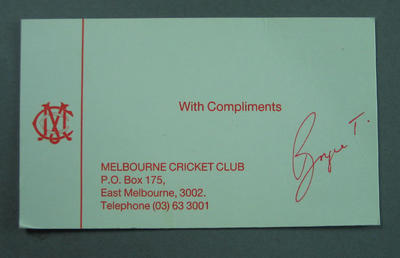 Compliments slip, Melbourne Cricket Club design; Documents and books; M14228.2