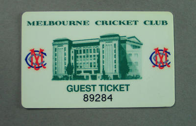 Membership card, Melbourne Cricket Club - Guest Ticket; Documents and books; M14229