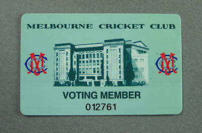 Membership card, Melbourne Cricket Club - Voting Member; Documents and books; M14230
