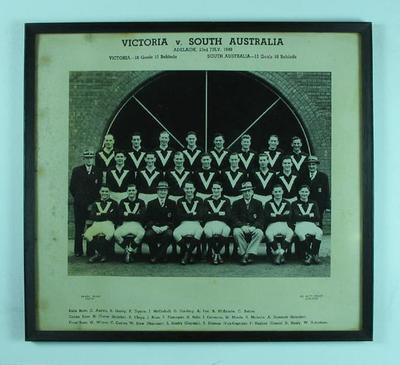 Photograph of Victorian Football League team, Adelaide 1949; Photography; Framed; 1992.2558.17