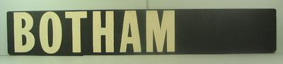 "MCG scoreboard name, ""Botham""; Sporting equipment; M14248"