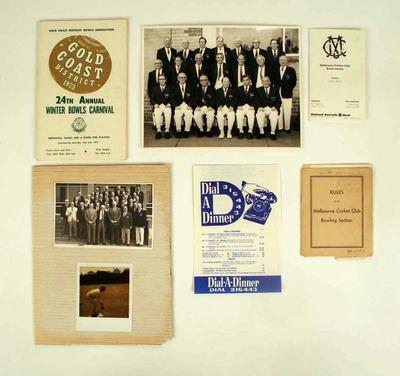 Assorted documents, associated with lawn bowls