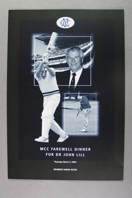 Menu, MCC Farewell Dinner for Dr John Lill - 2 Mar 2000; Documents and books; M14268