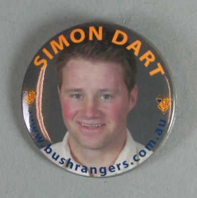 Badge with photographic image of Simon Dart, Victorian cricket player (Bushrangers)