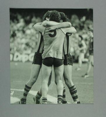 Photograph of Hawthorn footballers Robert DiPierdomenico, Gary Ayres and Greg Dear - c1980s
