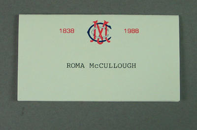 Place card for Roma McCullough, Melbourne Cricket Club 150th Birthday Dinner 1988