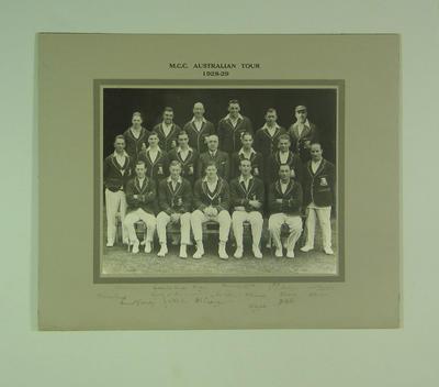 Photograph of English cricket team, 1928-29 Australian Tour