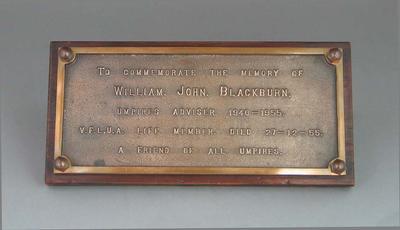 Plaque, commemorating VFL Umpire William John Blackburn c1955