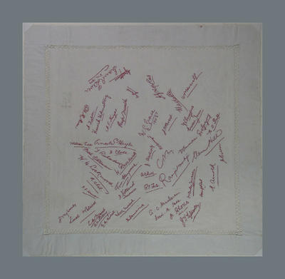 Handkerchief, embroidered signatures of English & Australian cricketers - early twentieth century; Clothing or accessories; M14326