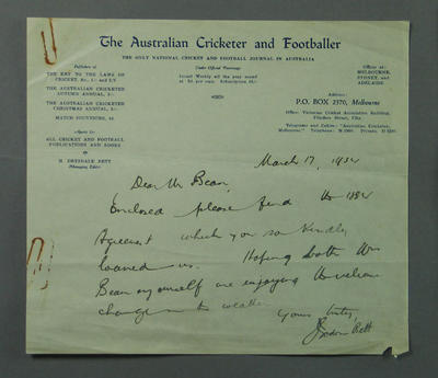 Letter addressed to E E Bean, from H Drysdale Bett - 1934; Documents and books; M9613.1