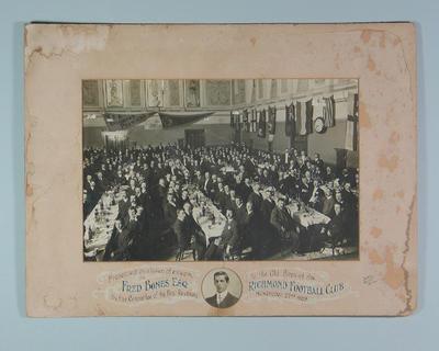 Photograph, Richmond Football Club Reunion dinner - 22 Nov 1909; Photography; M14155