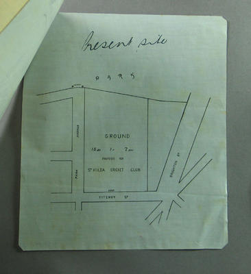 Map of proposed St Kilda Cricket Club location, c1850s; Documents and books; M9611.10
