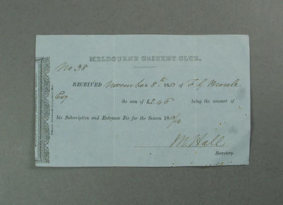 Receipt issued by Melbourne Cricket Club, payment of F G Moule's membership 1883-84