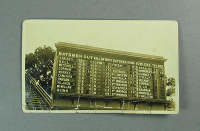 Photograph of scoreboard, Australia v South Africa Test match - 1931-32