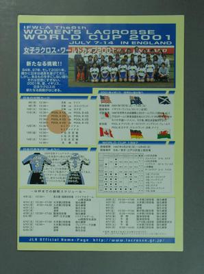 Flyer, Women's Lacrosse World Cup - 2001