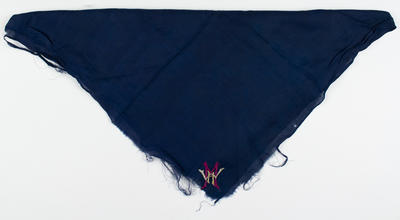 Monogrammed blue silk handkerchief,  belonged to William H Moule; Clothing or accessories; Clothing or accessories; M10249