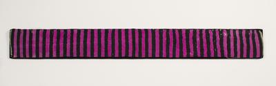 Silk tie belt strip,  magenta with dark blue vertical stripes - used by W.H. Moule