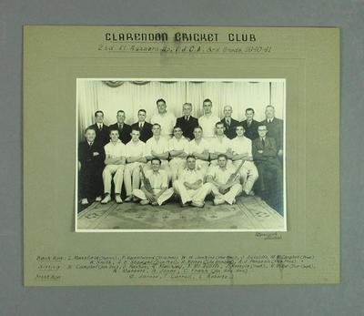 Photograph, Clarendon Cricket Club 2nd XI - VJCA Third Grade Runners Up, 1940/41; Photography; M14361
