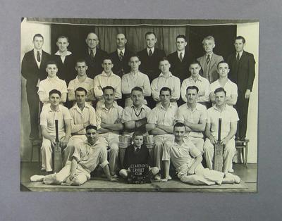 Photograph, Clarendon Cricket Club 1937-38; Photography; M14359.1