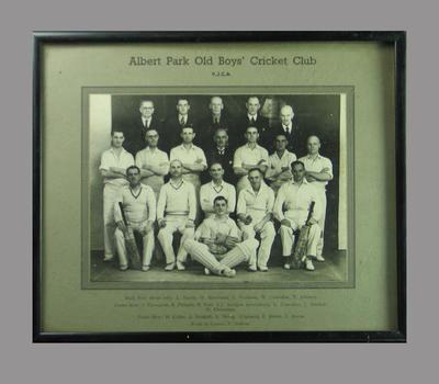 Photograph, Albert Park Old Boys' Cricket Club - undated; Photography; M14357