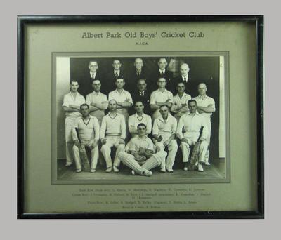 Photograph, Albert Park Old Boys' Cricket Club - undated; Photography; M14356