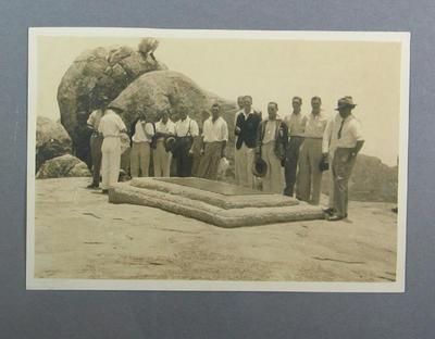 Photograph - MCC v Rhodesia team members, Cecil Rhode's grave, 1930; Photography; M10135
