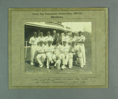 Photograph of Rhodesia team, Currie Cup Tournament, Johannesburg 1931-32; Photography; M10128