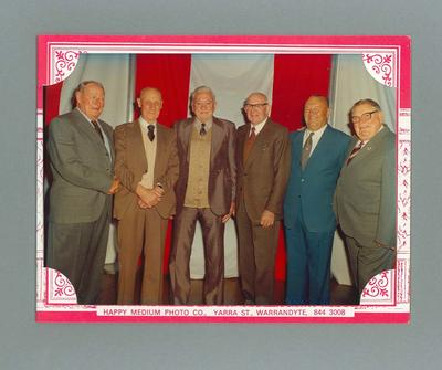 Photograph taken at South Melbourne FC 1933 Premiership Reunion, 1983