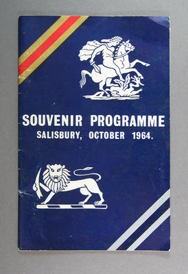 Programme, England v Rhodesia cricket series - 1964/65 - Salisbury October 1964