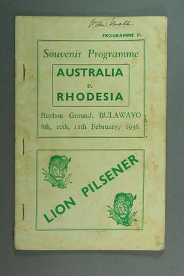 Programme - Australia v Rhodesia, Raylton Ground, Bulawayo,1936; Documents and books; M10131