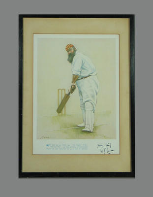 Print of W G Grace, with verse below image & reproduction signature