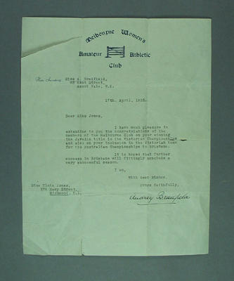 Letter from Audrey Bradfield to Elsie Jones, 1935; Documents and books; 2005.4213.2