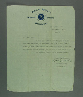 Letter from the Victorian Women's Amateur Athletic Association to Elsie Jones, 1933; Documents and books; 2005.4213.3