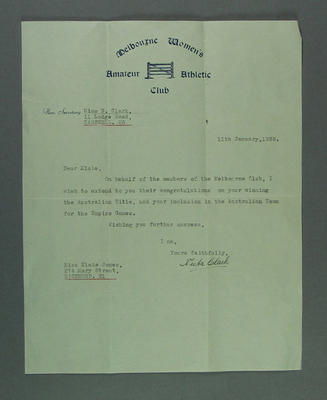 Letter from Melbourne Women's Amateur Athletic Club to Elsie Jones, 1938; Documents and books; 2005.4213.4
