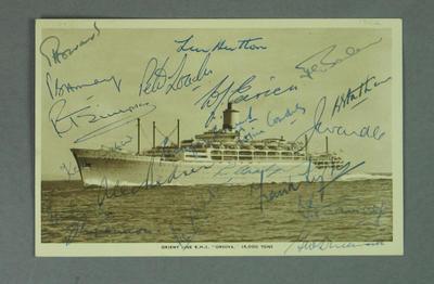 Postcard, image of R.M.S. 'Orsova' with English Test team signatures c1954