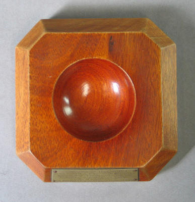 Cricket ball stand with plaque, presented to H de V Moll by Rhodesian Cricket Union - 1936