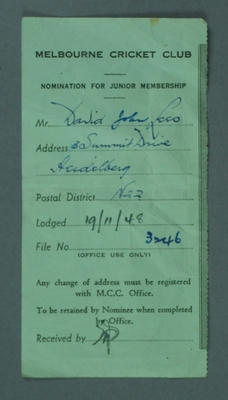 Melbourne Cricket Club membership nomination form, issued for David John Lees c.1948