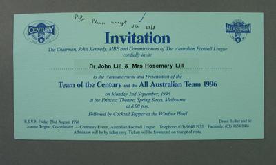 Invitation, AFL Team of the Century & 1996 All Australian Team announcements