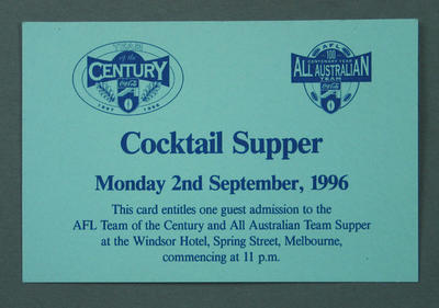 Ticket, Announcement of AFL Team of the Century and 1996 All-Australian Team