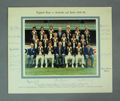 Photograph, England Tour to Australia & India 1979-80; Photography; M10244