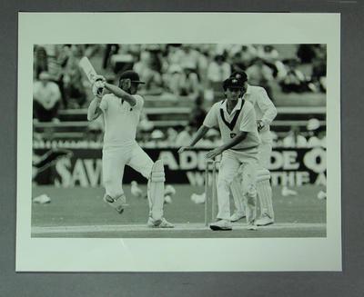 Photograph of Chris Broad batting, Australia v England Test - Adelaide, Dec 1986