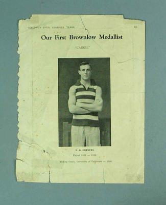 "Page from a book, ""Our First Brownlow Medallist"" c1930s"