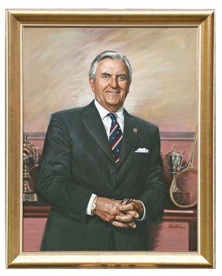 Portrait of Melbourne Cricket Club President David Jones, artist Brian Clinton