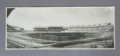 Panoramic photograph of MCG, including sketch of proposed Northern Stand c1956